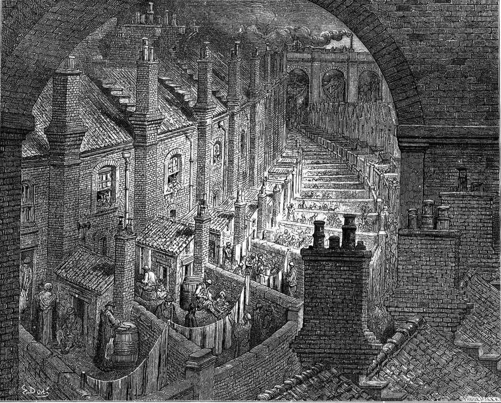 A black and white image of a street in Victorian times, showing small courtyards with washing hanging and smog in the sky