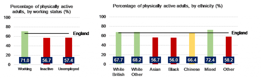 Two bar graphs. One shows the percentage of physically adults by working status. This shows adults in work are more active than those who are unemployed. Second graph shows percentage of physically active adults by ethnicity, with white British and mixed ethnicity being the most active and black and asian ethnicities the least.