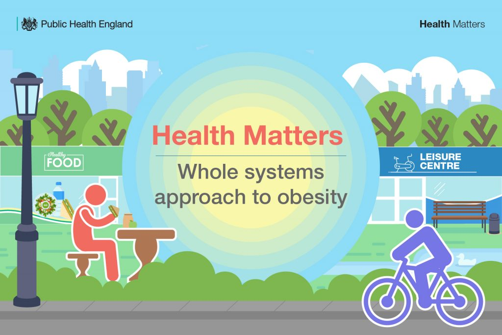 Image of illustrated park with two characters, one eating at a bench and one cycling. Text reads 'Health Matters, Whole Systems approach to obesity'