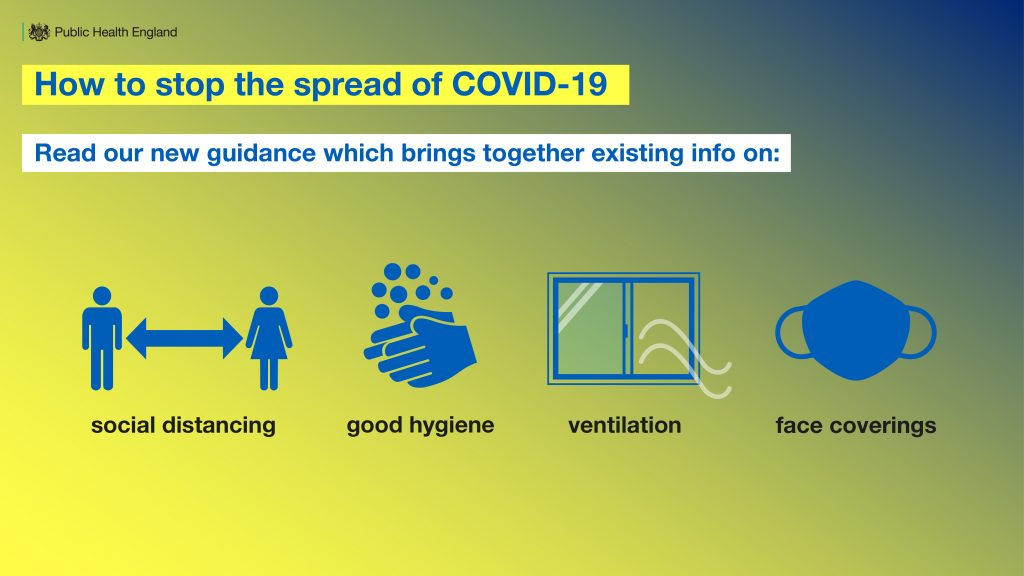 How to stop the spread of COVID-10. Read our new guidance which brings together existing information on social distancing, good hygiene, ventilation, face coverings.